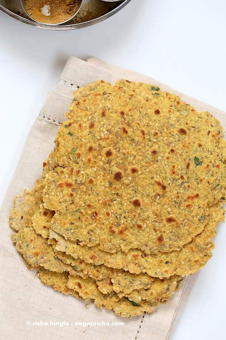 Methi Thepla - High Protein Savory Herbed Flatbread | Vegan Richa