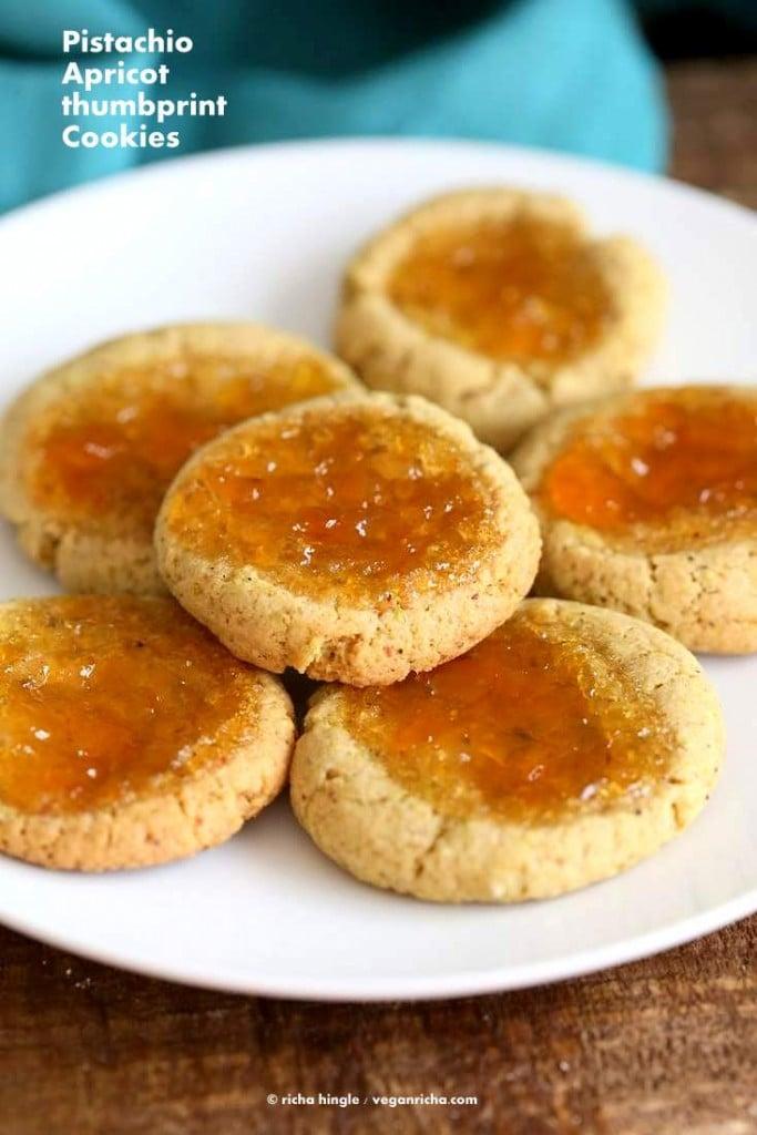 Pistachio Apricot Thumbprint Cookies | Vegan Richa