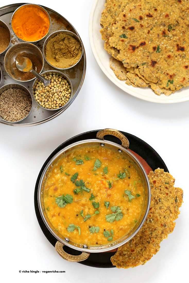 Dal Fry - Spiced Indian Lentil soup with multigrain herb flatbread| Vegan Richa #vegan #glutenfree #soyfree #Indian #lentils