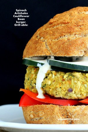Spinach Artichoke Bean Burger | Vegan Richa