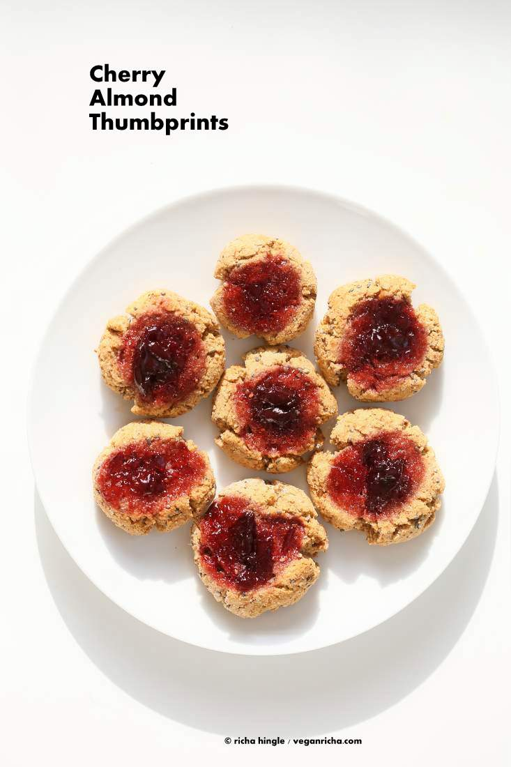Cherry Almond Thumbprint Cookies - Almond Pulp Cookies | Vegan Richa