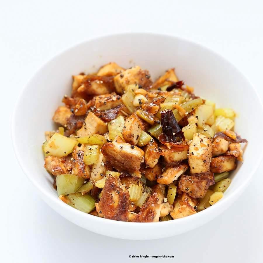 Celery Black Pepper Tofu | Vegan Richa