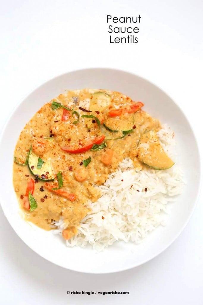 Veggies and Lentils in Peanut Sauce | Vegan Richa