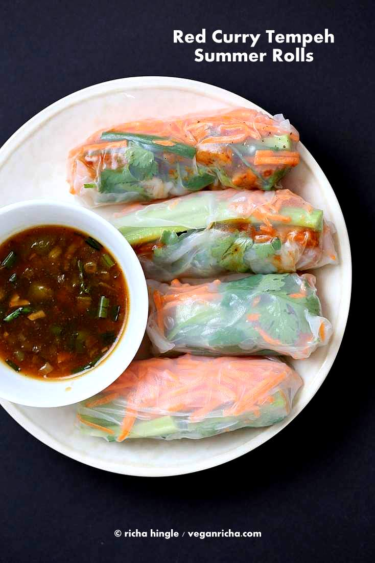 Red Curry Tempeh Summer Rolls served with manchurian or tonkatsu or peanut sauce | Vegan Richa #vegan #glutenfree