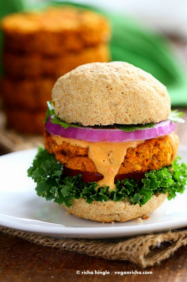 Sweet Potato Peanut Chickpea Burgers 35 Vegan Veggie Burger Recipes | VeganRicha.com