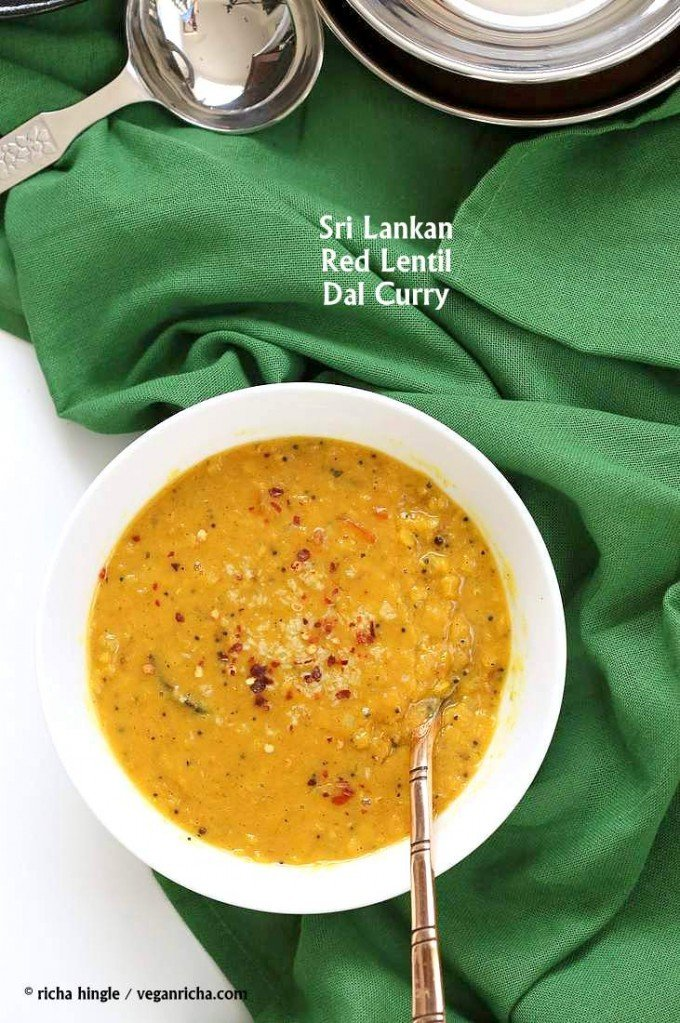 Sri Lankan Red Lentil Curry. Creamy Dal curry Spiced with fenugreek seeds, cinnamon, black peppercorns | http://VeganRicha.com #vegan #easy #glutenfree #soyfree #lentils #dal #recipe
