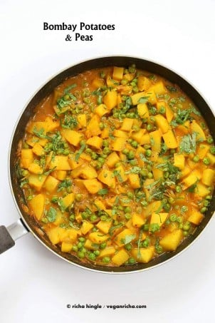 Vegan Bombay Potatoes and Peas | http://veganricha.com Easy Indian Spiced Potato and Pea curry. #vegan #glutenfree #soyfree #Indian #veganricha