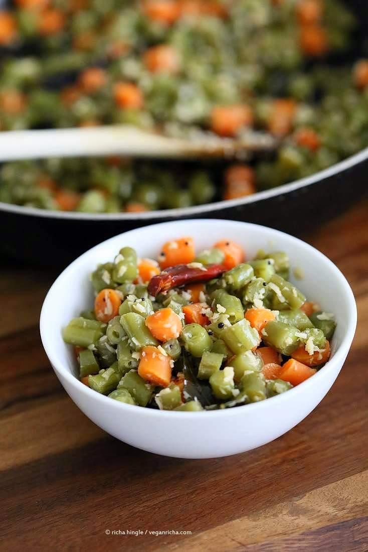 Carrot Green Beans Poriyal. Easy Green Beans Carrot Coconut stir fry side. South Indian Beans Coconut Poriyal Recipe. | VeganRicha.com #vegan #glutenfree #soyfree #indian