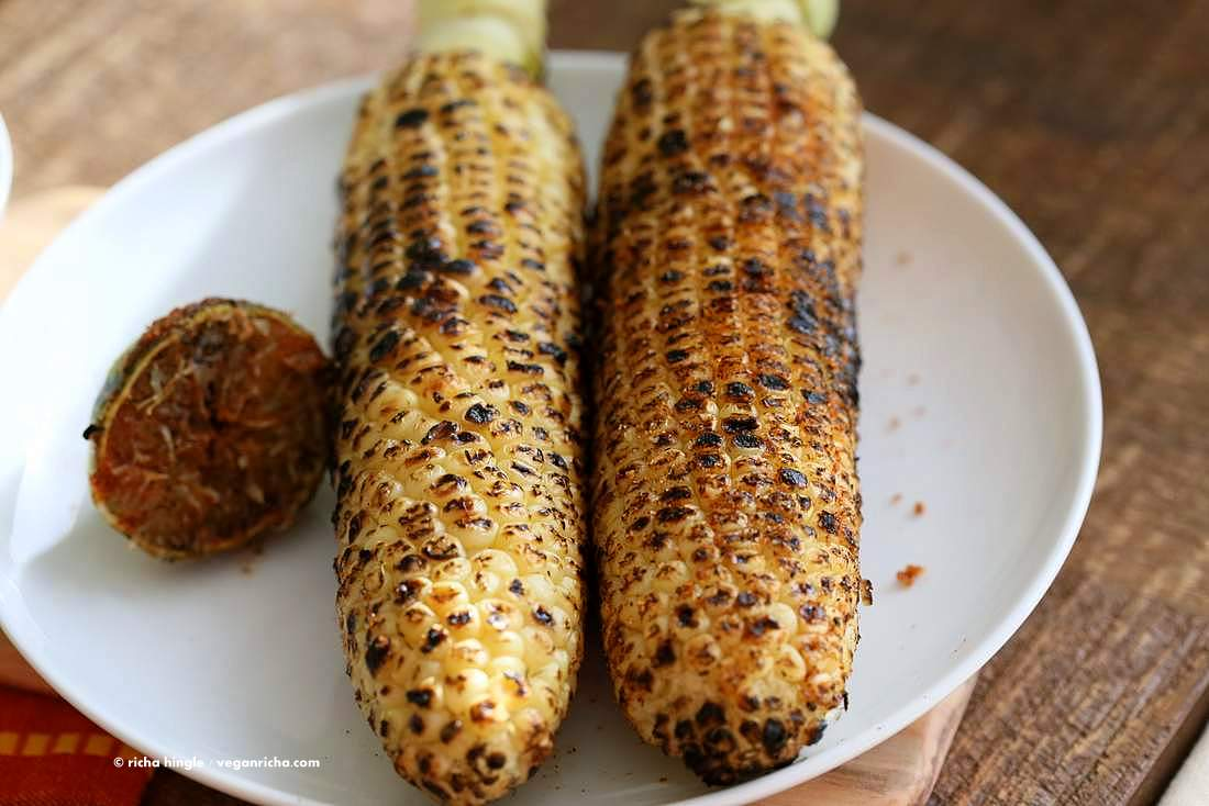 Indian Roasted Corn on the cob - Street style Butta or Bhutta recipe | Vegan Richa