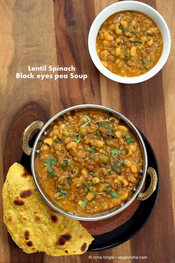Lentil Black Eyed Pea soup with Greens | http://veganricha.com #vegan #glutenfree #soup #Indian #blackeyedpea #lentil