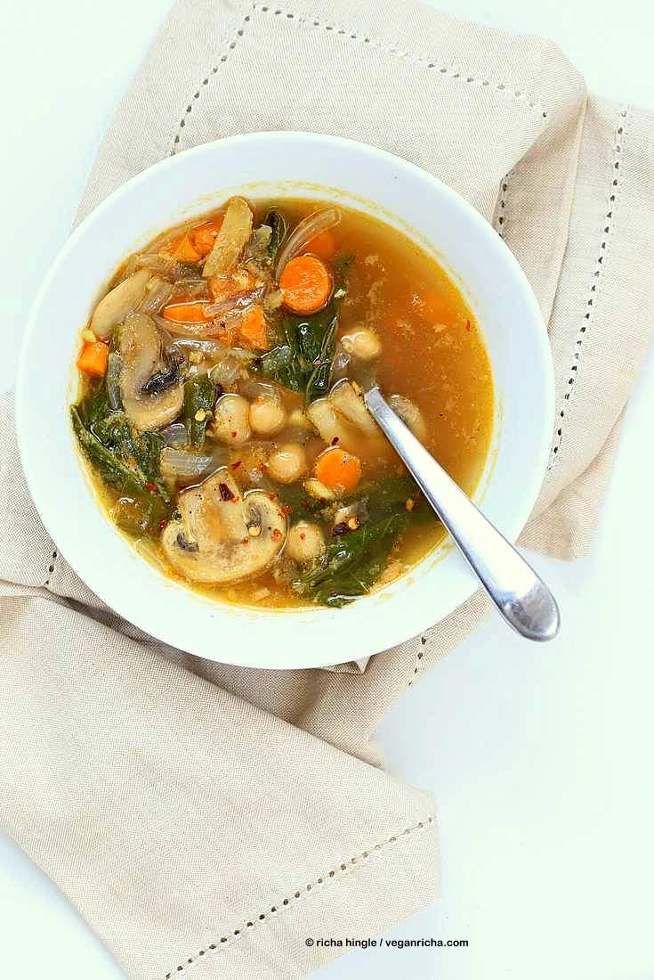 Mushroom Chickpea veggie soup