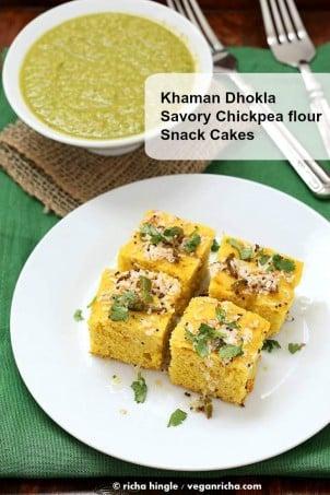 Khaman Dhokla Recipe - Chickpea flour Snack Cakes | Vegan Richa #glutenfree #veganricha #vegan