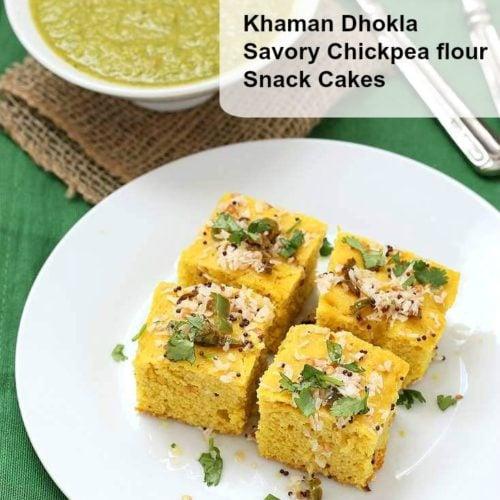 Chickpea flour snack cakes khaman dhokla recipe vegan richa forumfinder Gallery