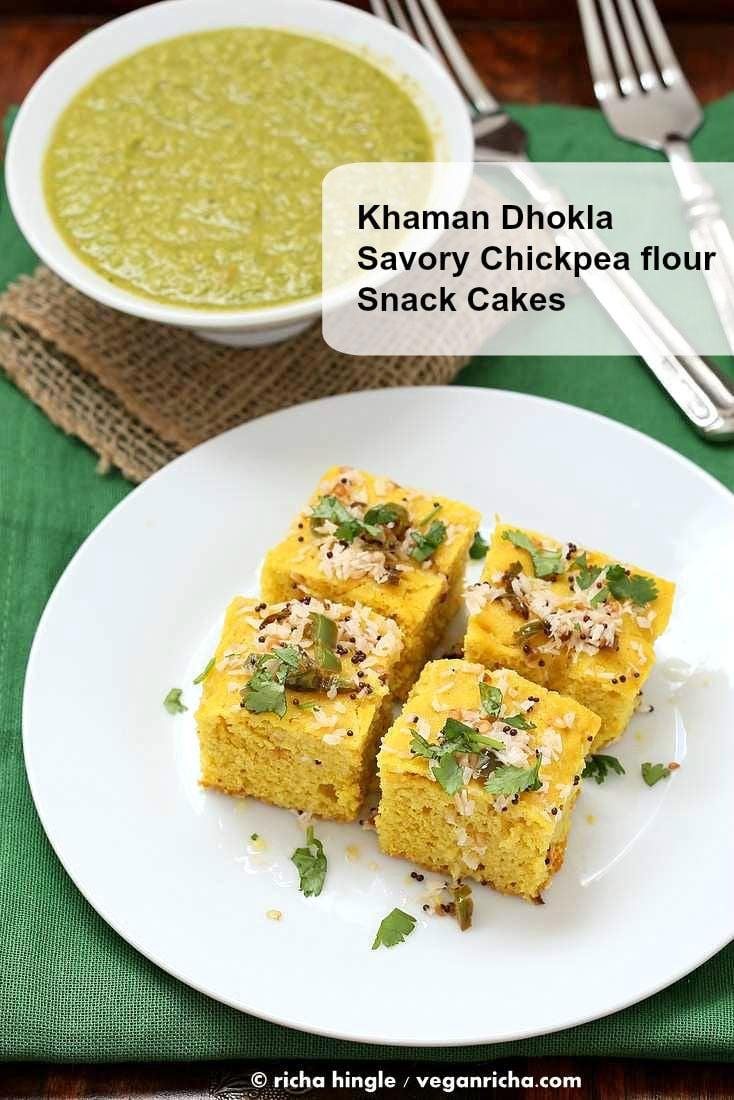 Chickpea flour Snack Cakes - Khaman Dhokla Recipe | http://veganricha.com #vegan #glutenfree #soyfree #snack #breakfast