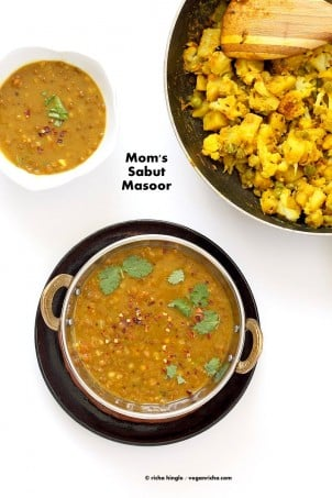 Sabut Masoor Ki Daal - Whole Masoor Dal, Brown Lentil soup with Indian Spices | VeganRicha.com #vegan #glutenfree #soyfree #nutfree #veganricha