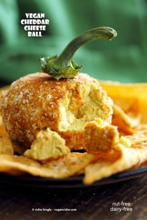 Vegan Cheese Ball No Nuts Cheddar Cheese Ball