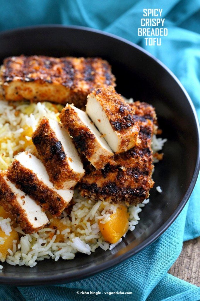 Spicy Crispy Breaded Tofu Strips. Marinated Tofu breaded and grilled or baked. Flavorful and easy. | VeganRicha.com #Vegan #Holiday #Side.