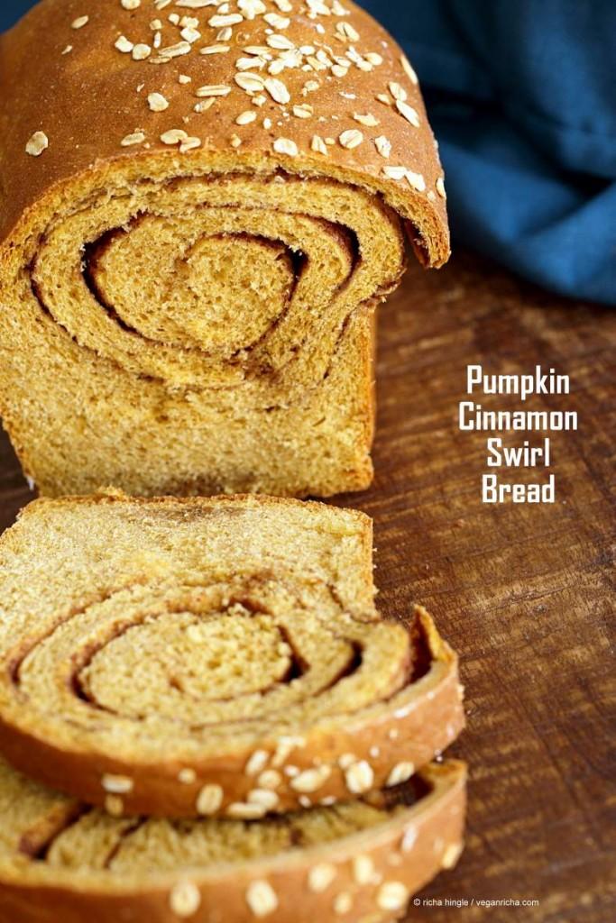 Pumpkin Cinnamon Swirl Bread! Pumpkin Sandwich bread with a swirl of cinnamon and sugar. Yeasted Loaf. | VeganRicha.com #vegan #breakfast #recipe
