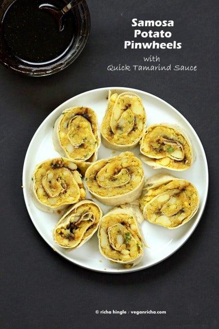 Samosa Pinwheels - Spiced Potato Pinwheels | VeganRicha.com #vegan #appetizer #samosa #glutenfree #veganricha