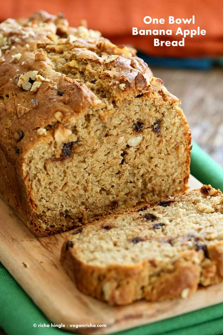 One Bowl Vegan Banana Apple Bread. Vegan Banana Bread | http://veganricha.com #vegan #banana #breakfast #recipe