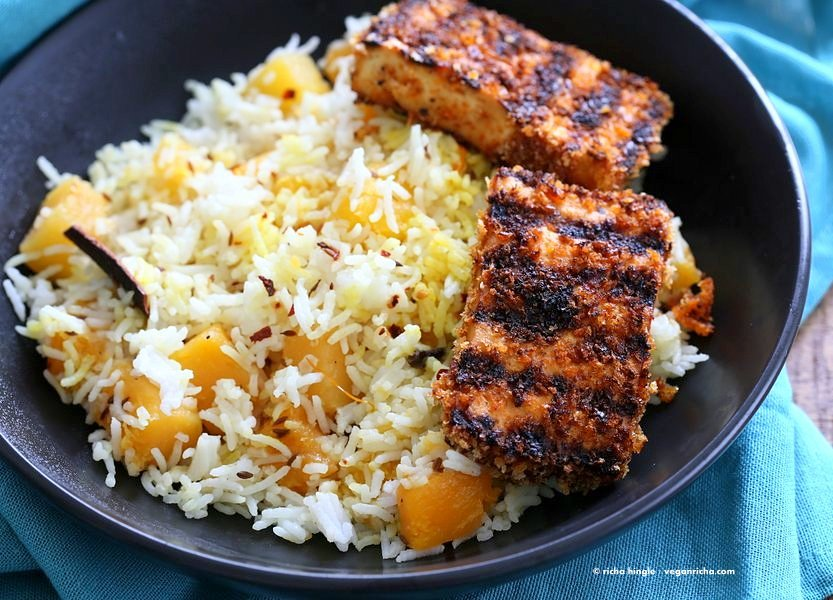 butternut squash pilaf - breaded tofu steak 0969