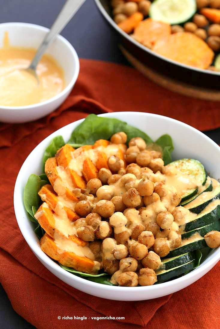 Shawarma Chickpea Sweet Potato Buddha Bowl w/ lemon tahini dressing | https://VeganRicha.com #vegan #glutenfree #soyfree #nutfree #recipe