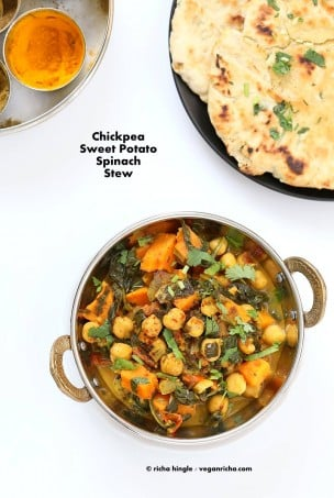 Easy One Pot Chickpea Sweet potato Spinach Curry with Indian Spices. Use spices of choice, pumpkin or other squash and other beans. | VeganRicha.com #vegan #glutenfree #soyfree #recipe #veganricha