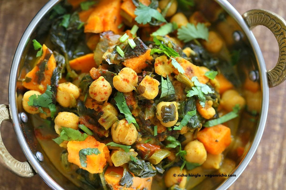 1 pot chickpea sweet potato spinach curry vegan richa easy one pot chickpea sweet potato spinach curry with indian spices use spices of choice forumfinder Gallery