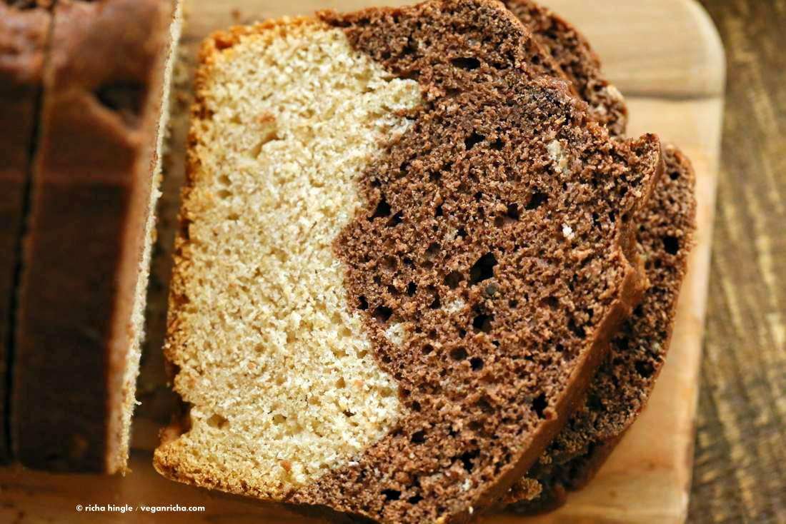 Vegan Cream Cheese Pound Cake. Marbled Vanilla Chocolate Cake. This pound cake is moist and dense | VeganRicha.com #vegan #cake #recipe.