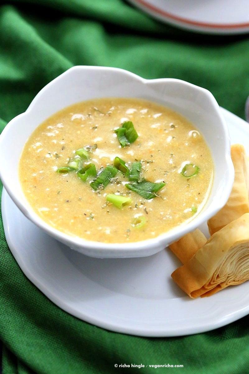 Vegan Chipotle Corn Chowder. Sweet and Spicy Corn Chowder with a garnish of pimientos and parsley.   VeganRicha.com #vegan #glutenfree #recipe