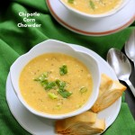 Vegan Chipotle Corn Chowder. Sweet and Spicy Corn Chowder with a garnish of pimientos and parsley. | VeganRicha.com #vegan #glutenfree #recipe