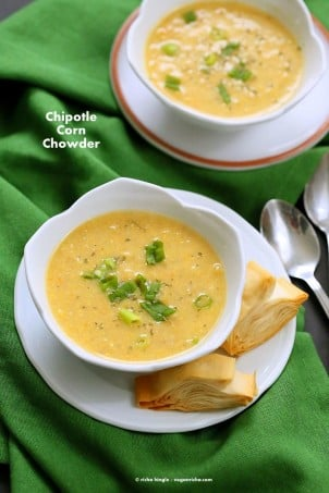 Vegan Chipotle Corn Chowder. Sweet and Spicy Corn Chowder with a garnish of pimientos and parsley. | VeganRicha.com #vegan #glutenfree #recipe #vegan #veganricha