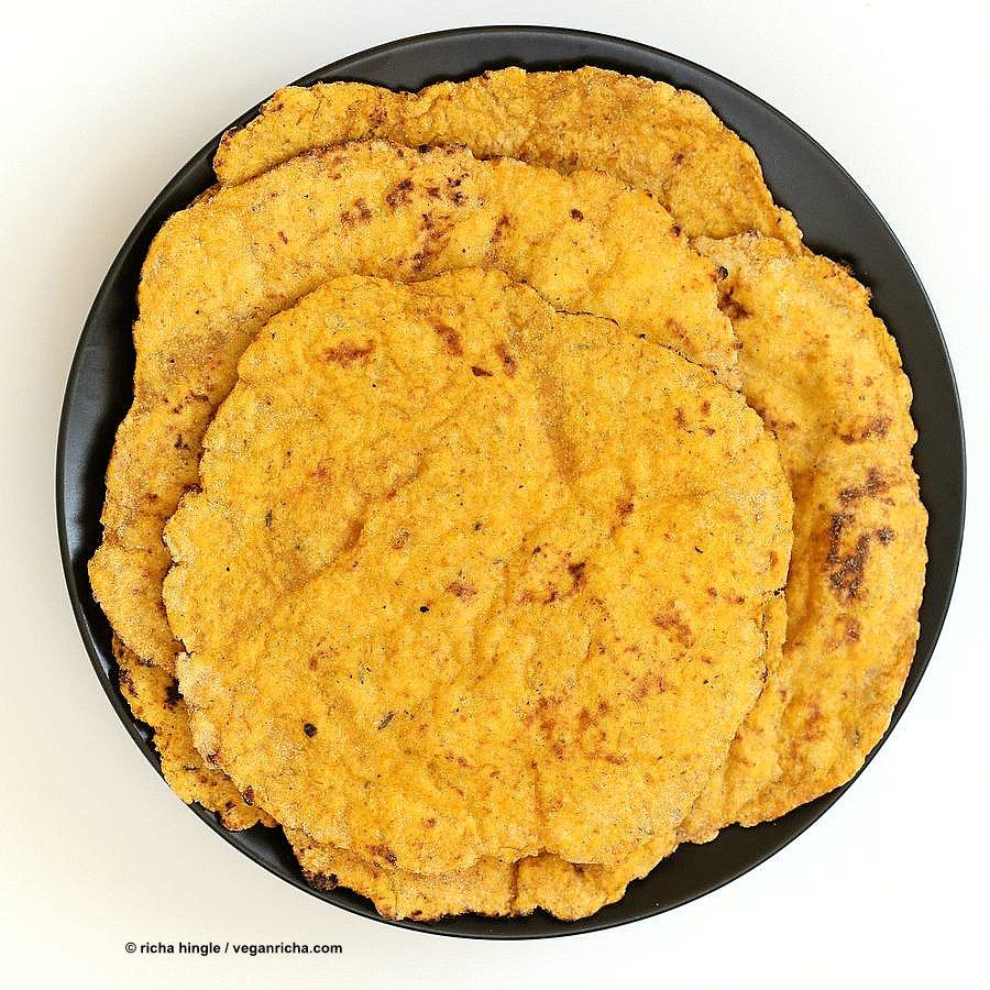 Easy Yeast-free Sweet Potato Vegan Gluten free flatbread. Sweet Potato flatbread with chickpea flour, rice flour and psyllium husk. #Eggless #vegan Oat-free #Recipe   VeganRicha.com