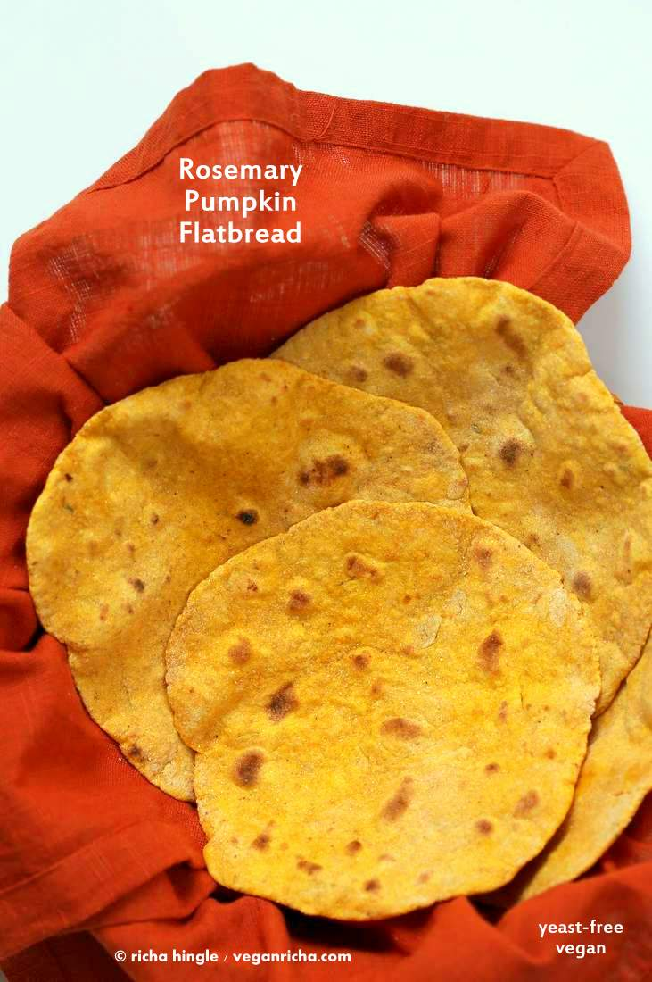 Rosemary Pumpkin Flatbread. Yeast-free Pumpkin flat bread with herbs. Use as side or to make wraps. #Vegan #Recipe. VeganRicha.com