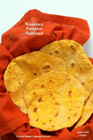 Rosemary Pumpkin Flatbread. Yeast-free Pumpkin flat bread with herbs. Use as side or to make wraps. #Vegan #Recipe. VeganRicha.com #veganricha