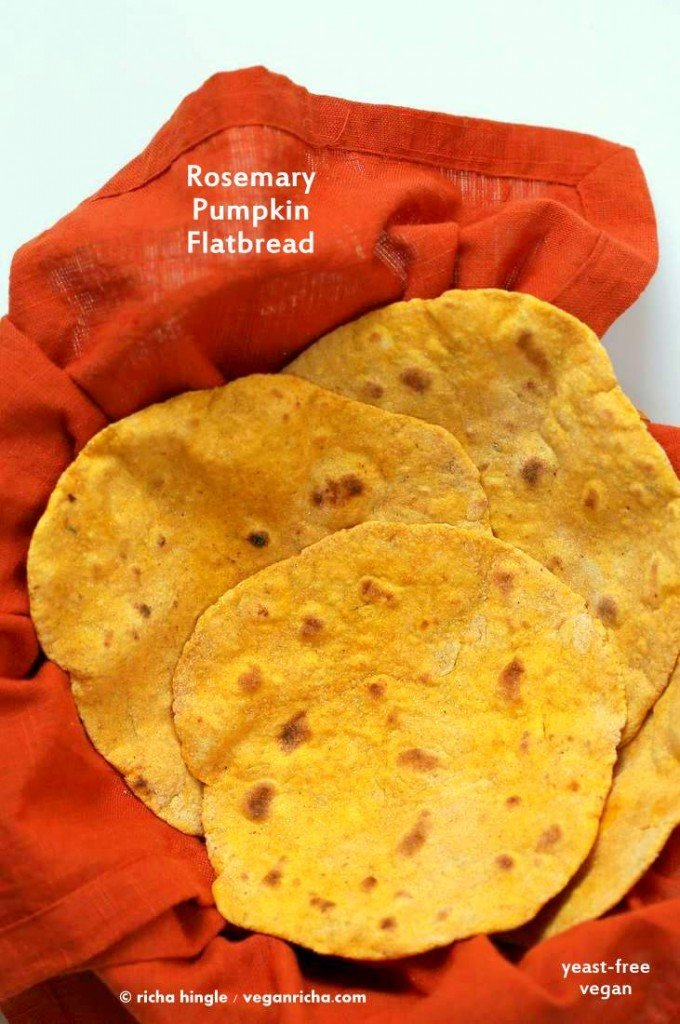 Rosemary Pumpkin Flatbread. Yeast-free Pumpkin flat bread with herbs. Use as side or to make wraps. #Vegan #Recipe. VeganRicha.com