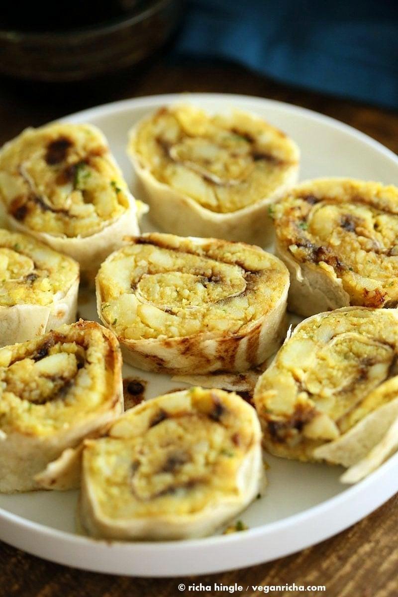 Samosa Pinwheels - Spiced Potato Pinwheels | VeganRicha.com #vegan #appetizer #samosa