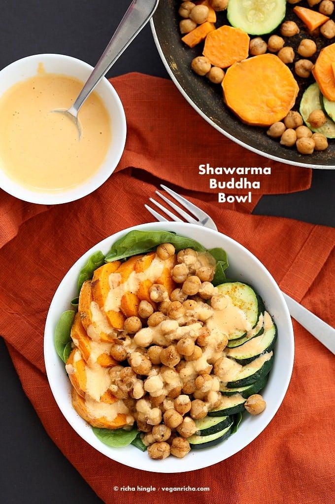 Shawarma Chickpea Sweet Potato Buddha Bowl w/ lemon tahini dressing | http://VeganRicha.com #vegan #glutenfree #soyfree #nutfree #recipe