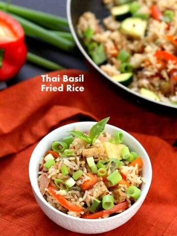 Vegan Thai Basil fried rice with veggies, marinated Tempeh and thai basil   VeganRicha.com #vegan #glutenfree #recipe #veganricha