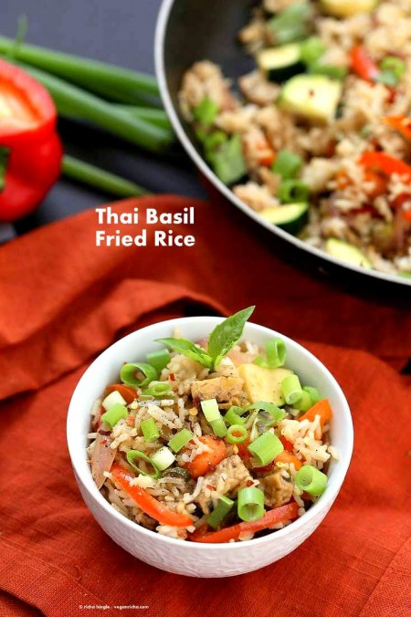 Vegan Thai Basil fried rice with veggies, marinated Tempeh and thai basil | VeganRicha.com #vegan #glutenfree #recipe #veganricha