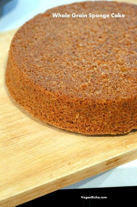 Vegan Sponge Cake Recipe . This Sponge Cake is whole grain, soft, moist and easy. Add vanilla or zest of choice. Makes amazing layer cakes. Makes two skinny 8 inch pans. Free of Dairy, egg, yeast, nut. Can be made corn-free. | VeganRicha.com #vegan #glutenfree #veganricha