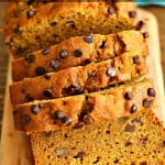 1 Bowl Vegan Pumpkin Bread Recipe. Easy Pumpkin loaf with pumpkin puree, pumpkin pie spice, walnuts and chocolate chips. Use pumpkin seeds, currants for variation | VeganRicha.com #vegan #breakfast #pumpkinbread #veganricha