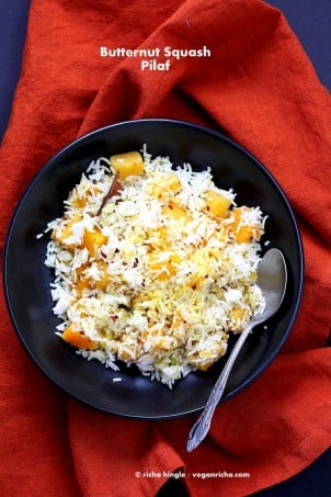 Butternut Squash Pilaf with Whole Spices - Cardamom, cloves, cinnamon. Use other squash or pumpkin and spices of choice. | VeganRicha.com #Vegan #Glutenfree #Holiday #side #Recipe #veganricha
