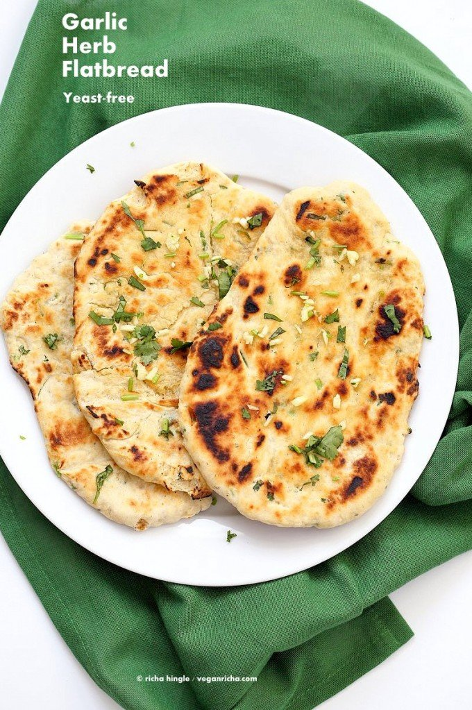 Garlic flatbread recipe No Yeast. This easy garlic herb flatbread has no yeast, doesn't need hours to rest, and has a secret ingredient. | VeganRicha.com #vegan #flatbread #recipe #yeastfree
