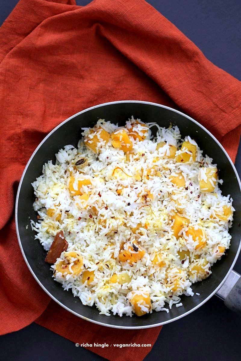 Butternut Squash Pilaf with Whole Spices - Cardamom, cloves, cinnamon. Use other squash or pumpkin and spices of choice. | VeganRicha.com #Vegan #Glutenfree #Holiday #side #Recipe