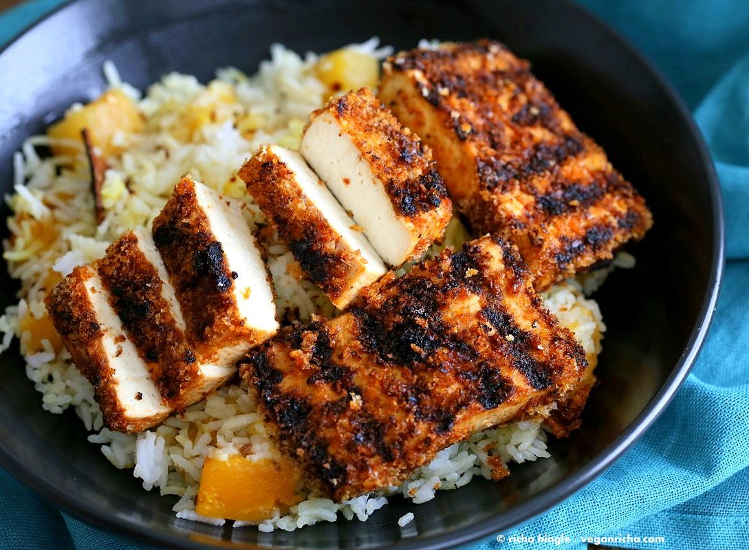 Butternut Squash Pilaf with Whole Spices - Cardamom, cloves, cinnamon and Breaded Tofu Strips. Use other squash or pumpkin and spices of choice. | VeganRicha.com #Vegan #Glutenfree #Holiday #side #Recipe