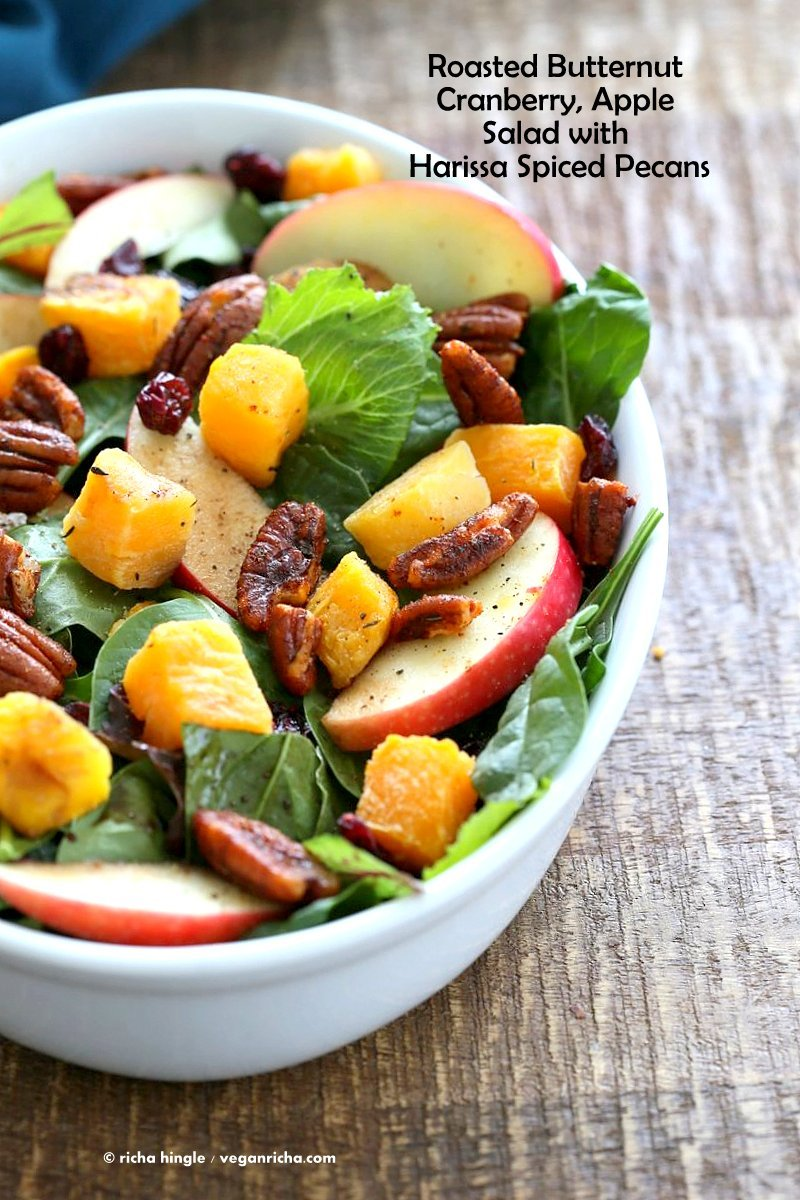 Roasted Butternut Squash Apple Cranberry Salad with harrissa Spiced Pecans. Easy Thanksgiving Salad. | VeganRicha.com #vegan #glutenfree #soyfree #recipe