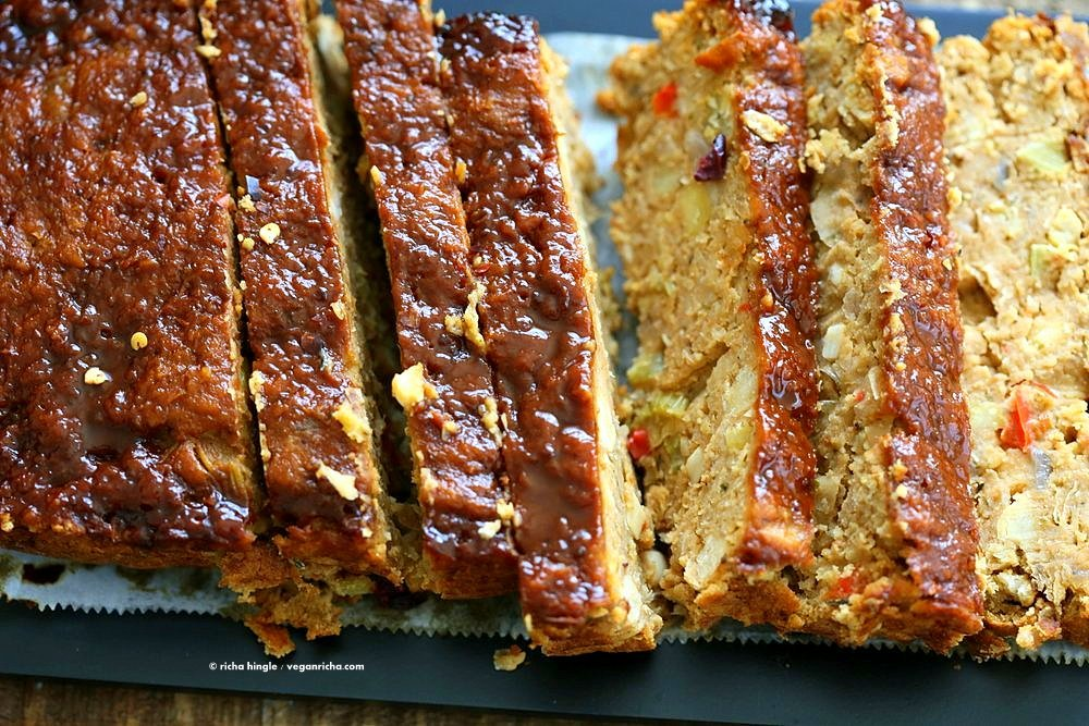 Chickpea Veggie Loaf with spices and a spicy bbq glaze. Chickpea Cannellini bean Veggie meat loaf for Thanksgiving and the holidays. Easy and delicious. | VeganRicha.com #vegan can be #glutenfree