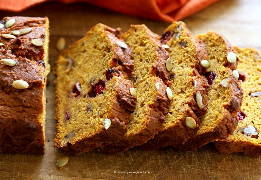 Vegan Gluten free Pumpkin Bread Recipe with cranberries and walnuts. Gum-free, Soy-free. Can be made oat-free. | VeganRicha.com #vegan #glutenfree #pumpkinbread