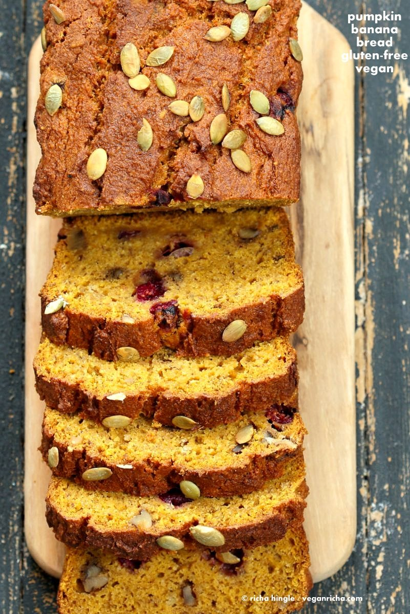 Vegan Gluten free Pumpkin Bread Recipe with cranberries and walnuts. Gum-free, Soy-free. Can be made oat-free. | VeganRicha.com #vegan #glutenfree #pumpkinbread #breakfast
